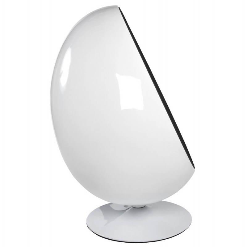 Fauteuil design OVALO en polymère et tissu (blanc et noir) - image 22153