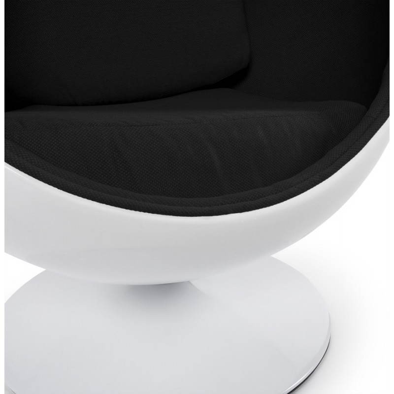 Ovalo design chair in polymer and fabric white and black - Fauteuil design noir et blanc ...