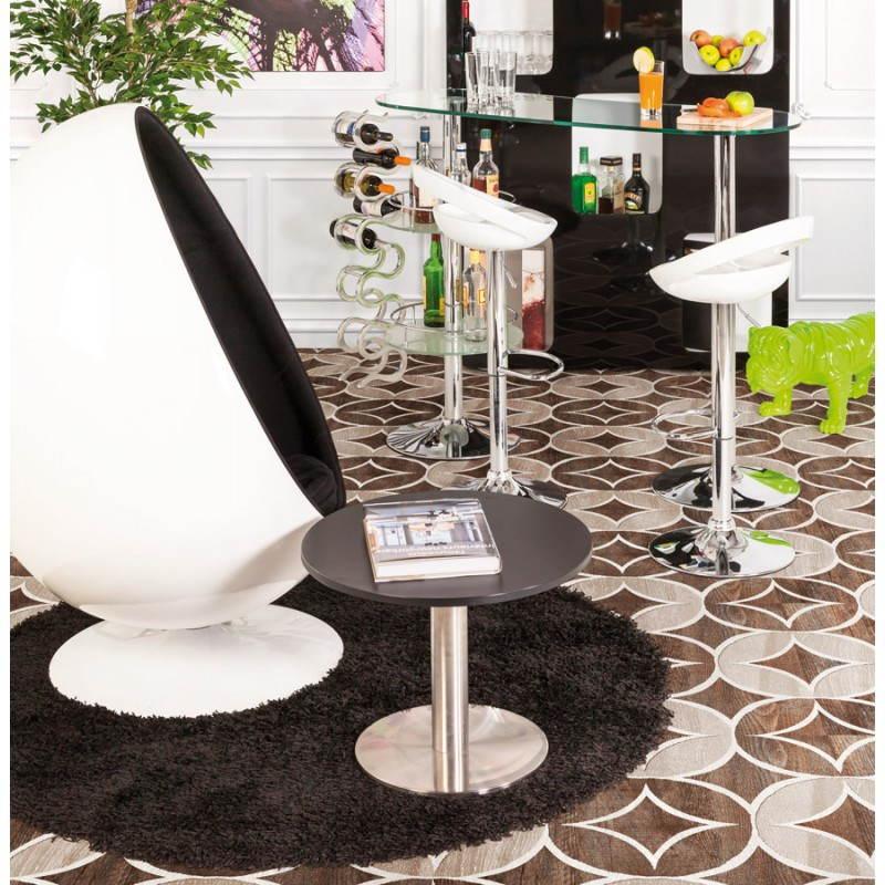 Fauteuil design OVALO en polymère et tissu (blanc et noir) - image 22159