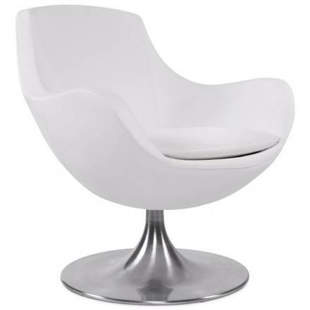 Fauteuil Design Et Contemporain AMOUR En Synthétique Et Aluminium Brossé  (blanc)
