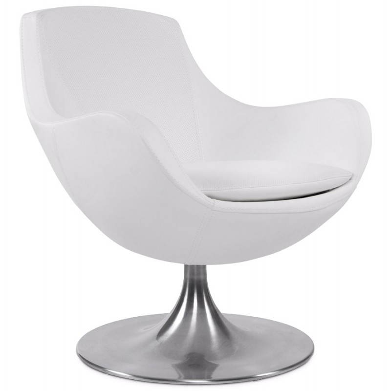 Design armchair contemporary love in synthetic and brushed aluminum (white) - image 22181