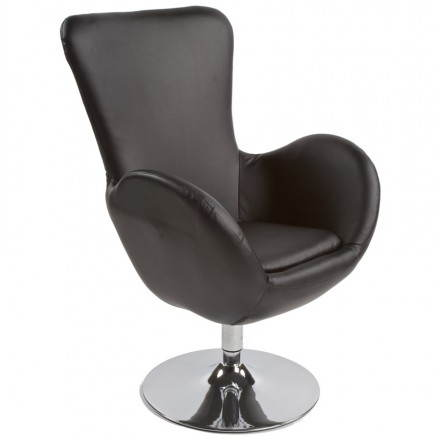 Design and contemporary armchair JAMES swivel (black)