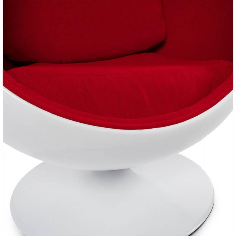 Sedia design OVALO in polimero e tessuto (bianco e rosso) - image 22218