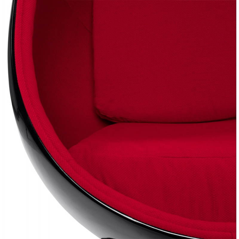 fauteuil design ovalo en polym re et tissu noir et rouge. Black Bedroom Furniture Sets. Home Design Ideas