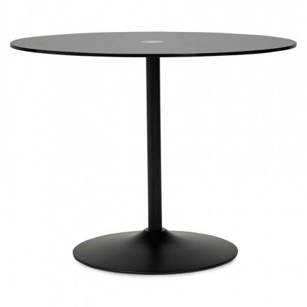 Design Roundtable MILAN glass and metal (Ø 100 cm) (black)