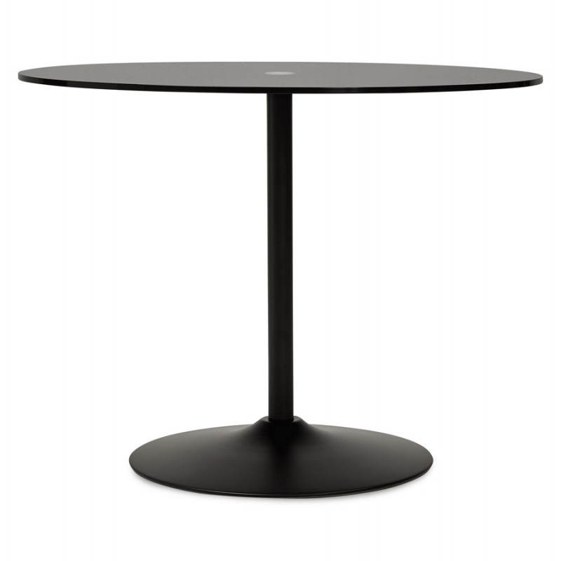 table design ronde milan en verre et m tal 100 cm noir. Black Bedroom Furniture Sets. Home Design Ideas