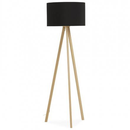 Scandinavian style TRANI (black, natural) fabric floor lamp
