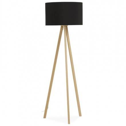 Lampe sur pied de style scandinave TRANI en tissu (noir, naturel)