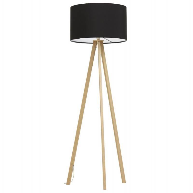 lampe sur pied de style scandinave trani en tissu noir naturel. Black Bedroom Furniture Sets. Home Design Ideas
