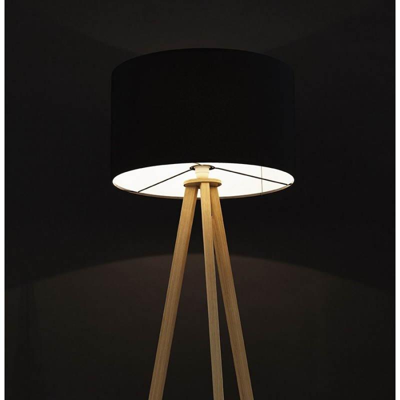 Lampada da terra di tessuto di stile scandinavo TRANI (nero, naturale) - image 23086