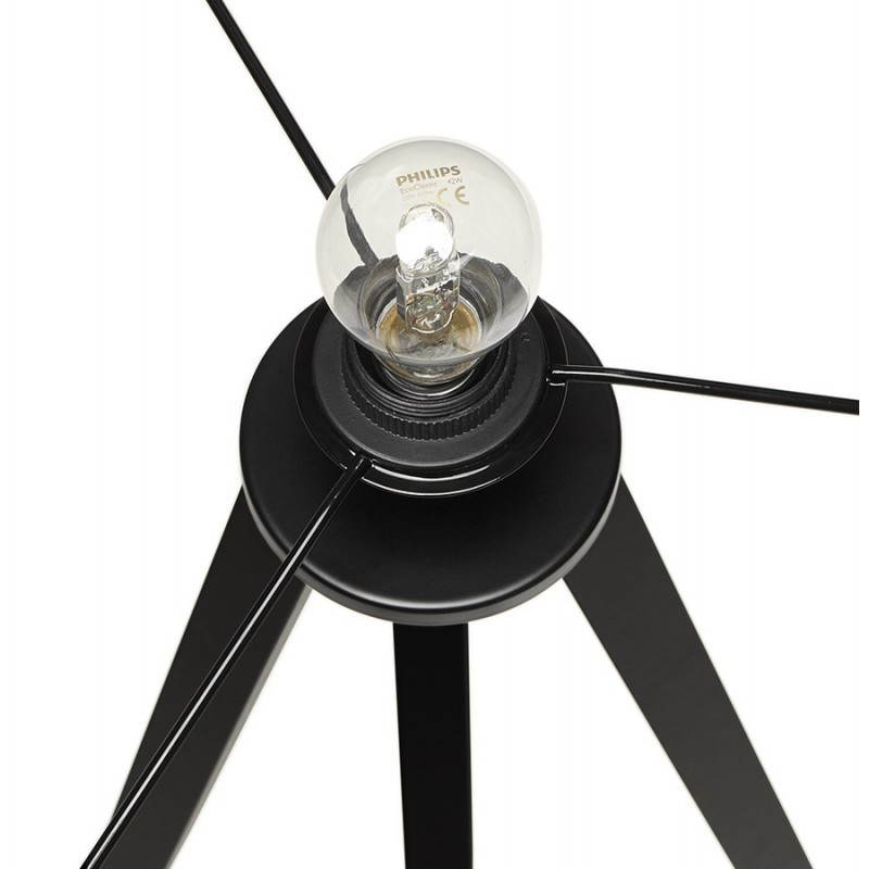 lampe sur pied de style scandinave trani en tissu gris noir. Black Bedroom Furniture Sets. Home Design Ideas