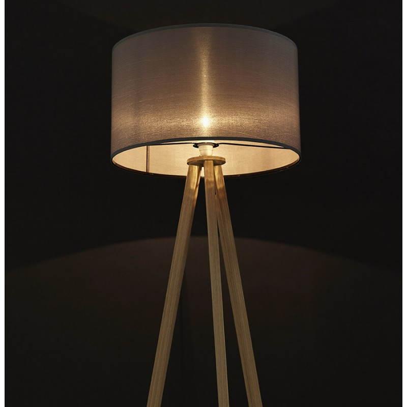 Lampe sur pied de style scandinave TRANI en tissu (gris, naturel) - image 23134