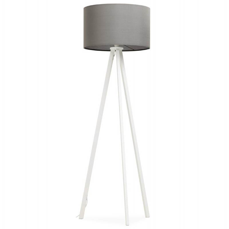 Scandinavian style TRANI in fabric (grey, white) floor lamp - image 23138