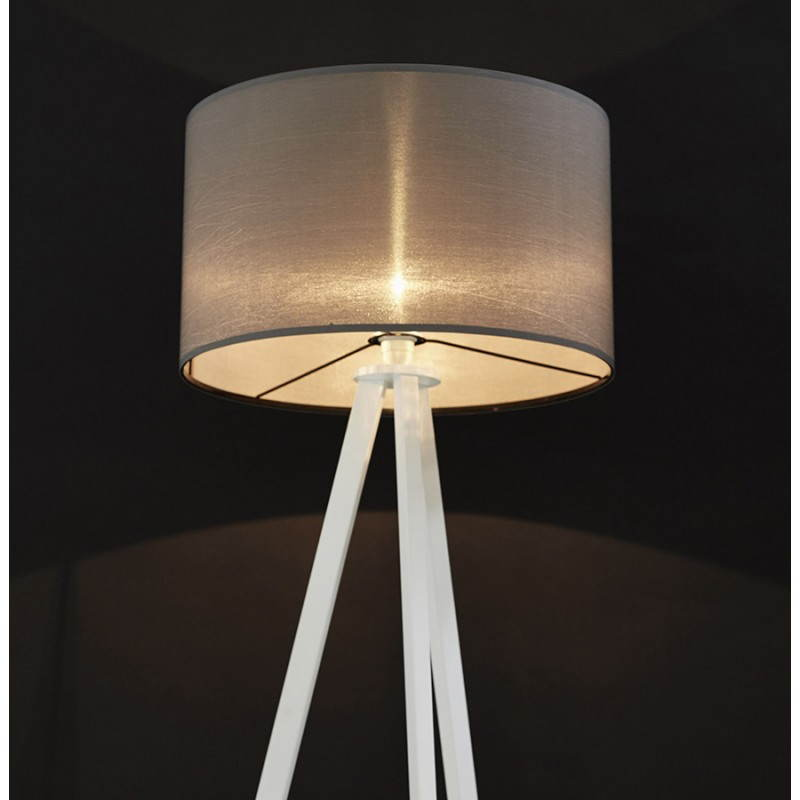 Scandinavian style TRANI in fabric (grey, white) floor lamp - image 23151