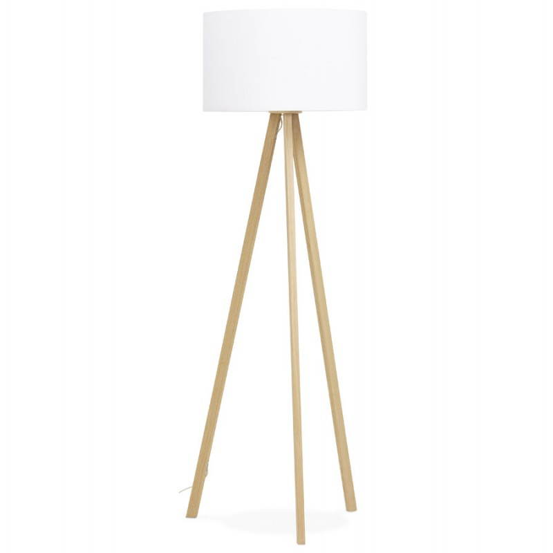 Scandinavian style TRANI (white, natural) fabric floor lamp - image 23168