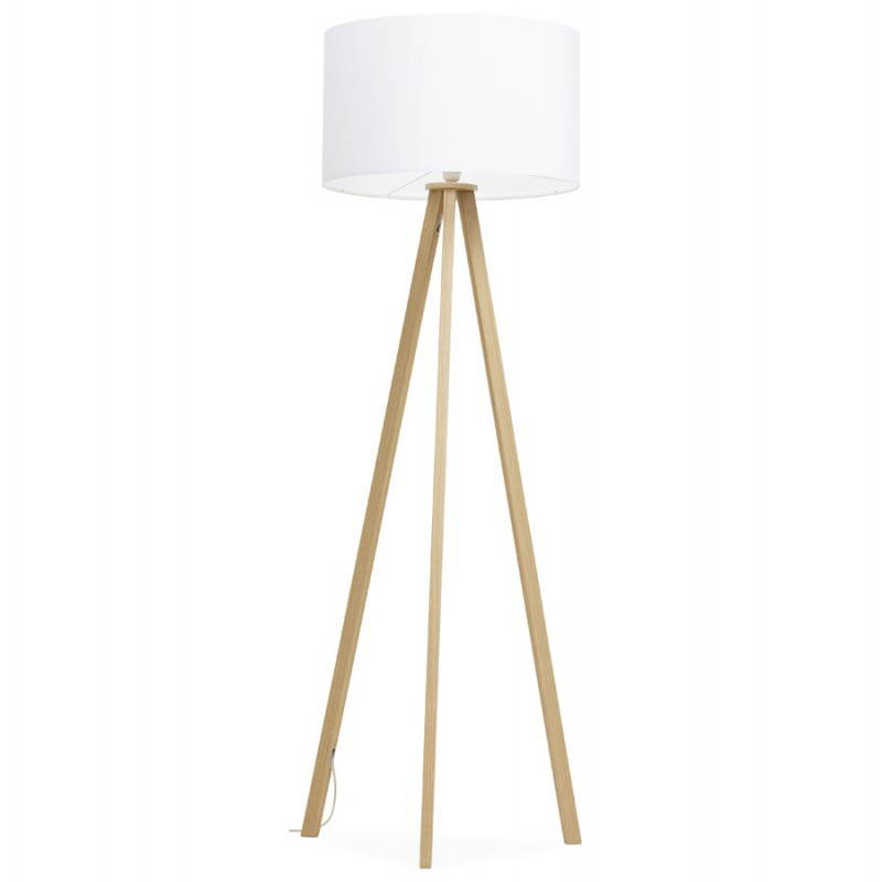 Scandinavian style TRANI (white, natural) fabric floor lamp - image 23171