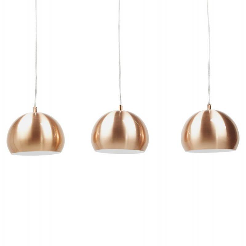 Lampe suspendue rétro 3 boules POUILLES en métal (cuivre) - image 23239