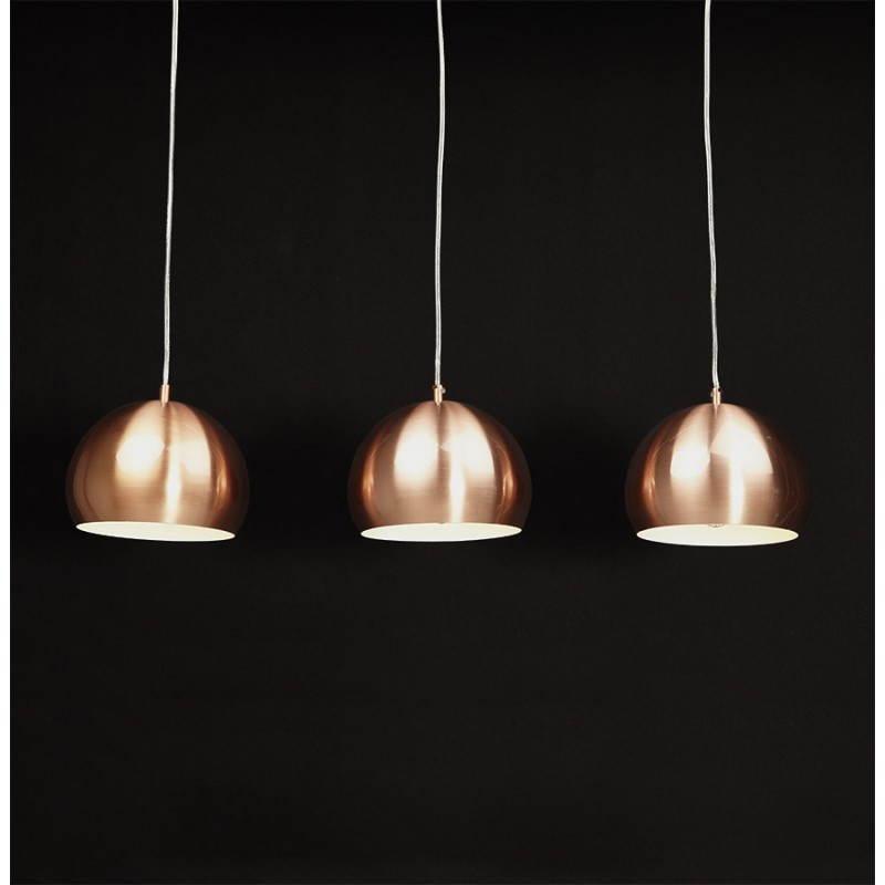 Lampe suspendue rétro 3 boules POUILLES en métal (cuivre) - image 23249