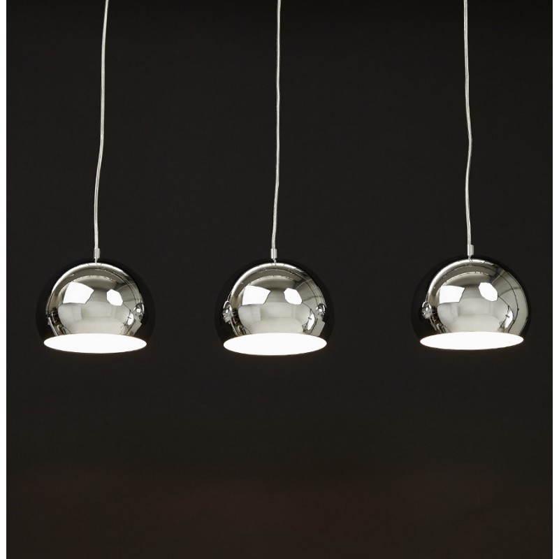 Lampe suspendue rétro 3 boules POUILLES en métal (chromé) - image 23260