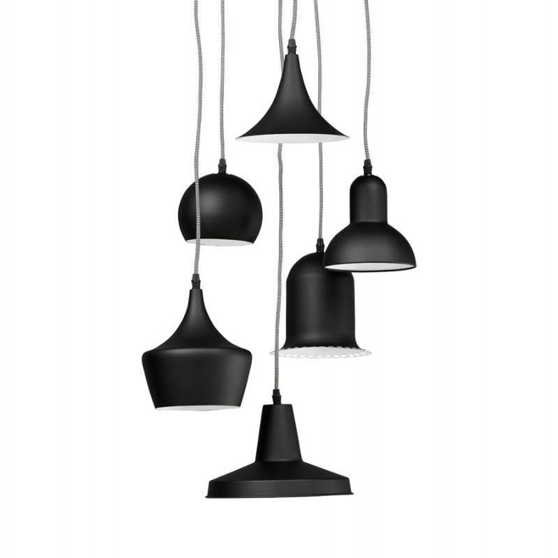 Lampe suspendue industrielle 6 globes matera en m tal for Lampe suspendu noir