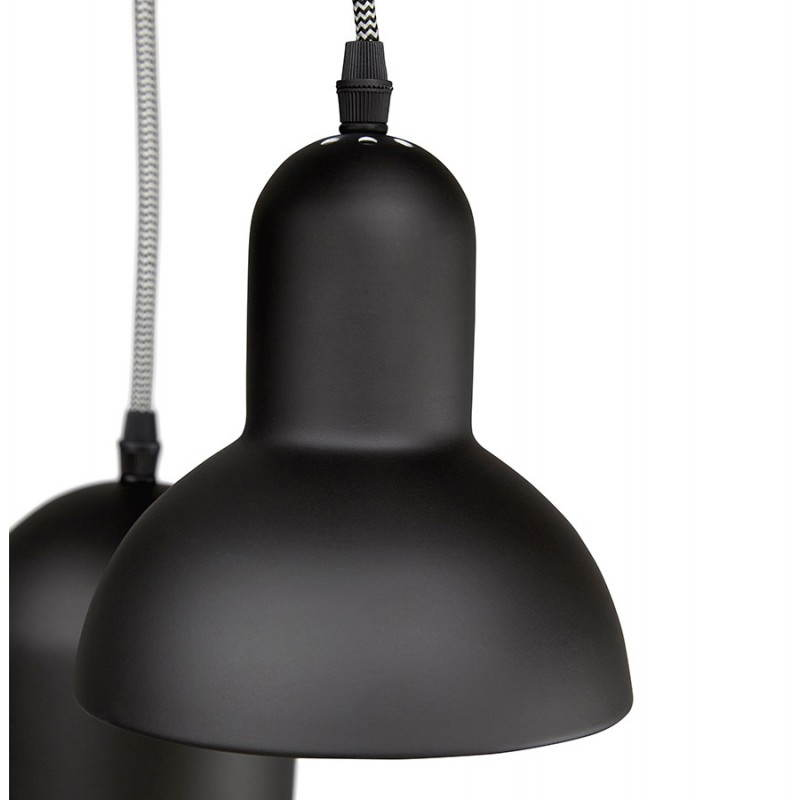 Lampe suspendue industrielle 6 globes MATERA en métal (noir mat) - image 23295