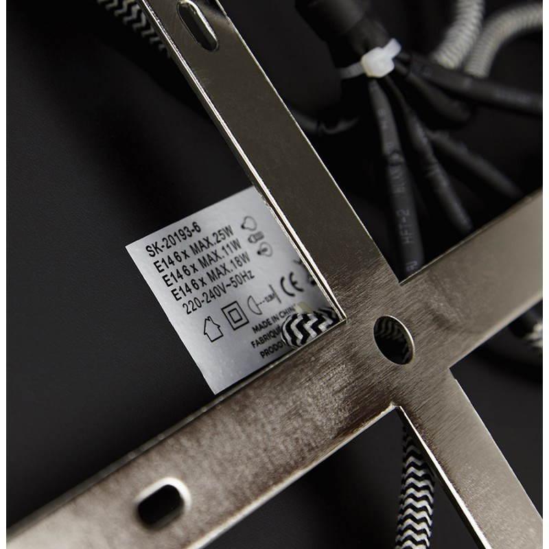 Lampe suspendue industrielle 6 globes MATERA en métal (noir mat) - image 23305