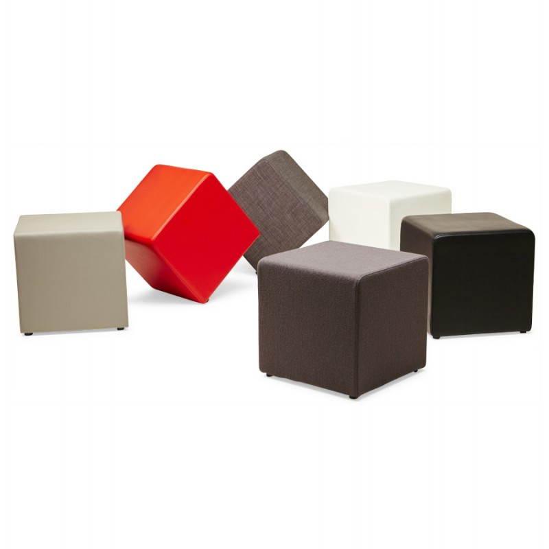 Pouf carré FUSIL en tissu (gris foncé) - image 23359