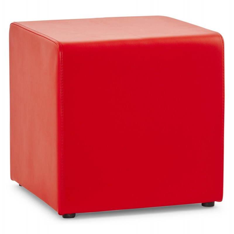 Pouf carré PORTICI en polyuréthane (rouge) - image 23360