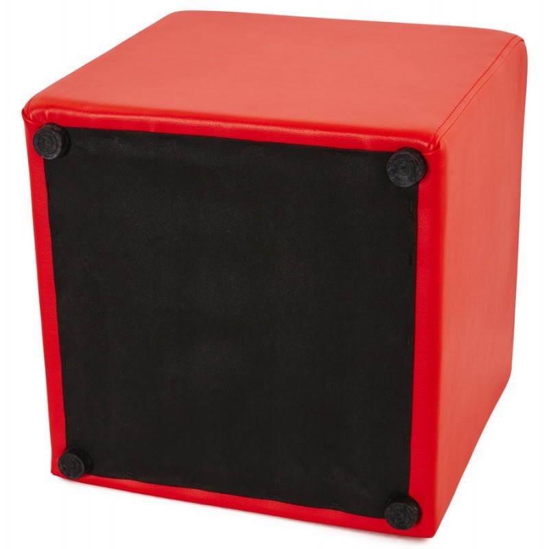 Pouf carré PORTICI en polyuréthane (rouge) - image 23369