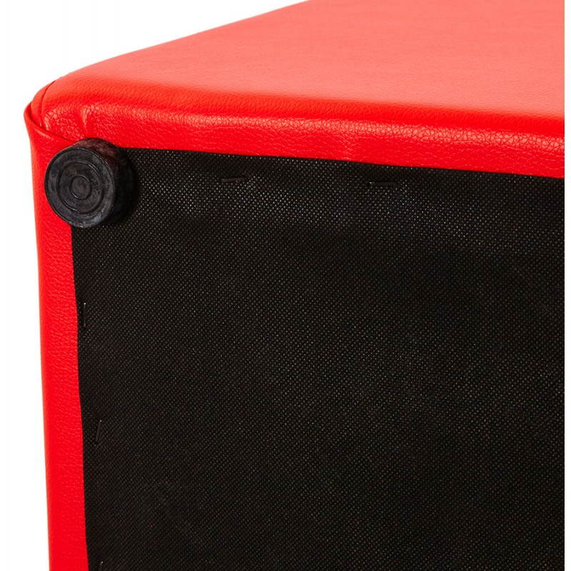 Portici polyurethane square pouf red - Pouf rectangulaire cuir ...