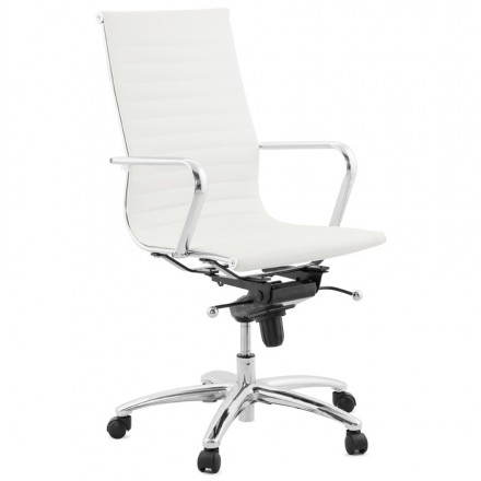 Rotary office armchair in polyurethane AMEN (white)