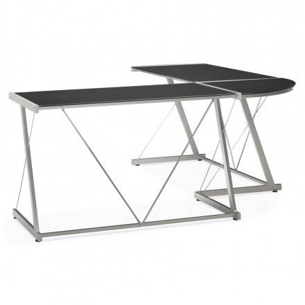 Office design angle ROVIGO in tempered glass and metal (black)