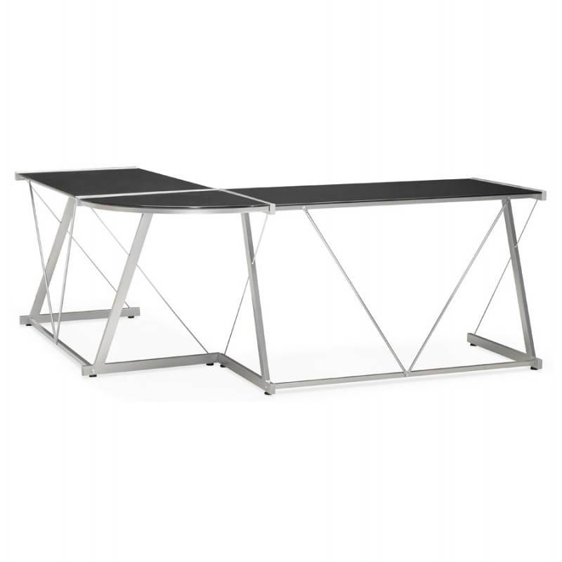 Bureau d'angle design ROVIGO en verre trempé et métal (noir) - image 23573