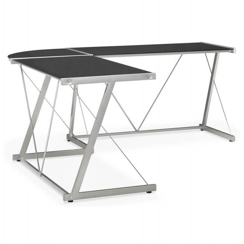 Bureau d'angle design ROVIGO en verre trempé et métal (noir) - image 23574