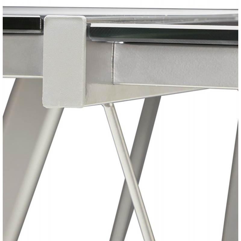 Bureau d 39 angle design rovigo en verre tremp et m tal noir - Bureau angle verre noir ...