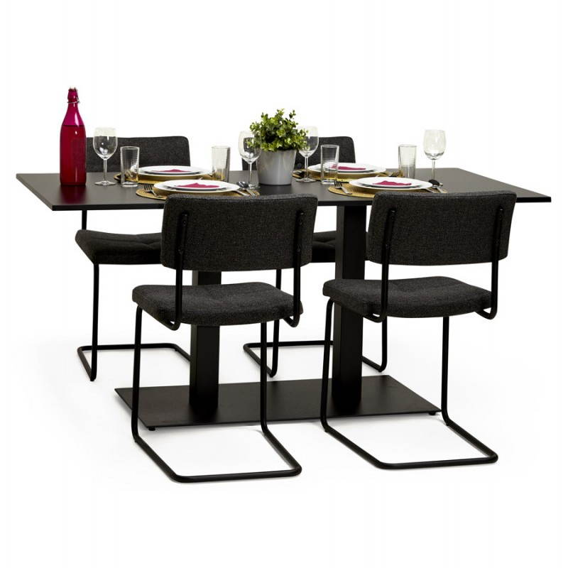 double pied de table rambou en m tal peint 50cmx100cmx73cm noir. Black Bedroom Furniture Sets. Home Design Ideas