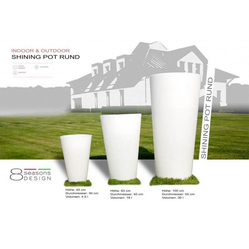 Pot ou vase lumineux intérieur extérieur BALSANE (blanc, H 45 cm) - image 23958