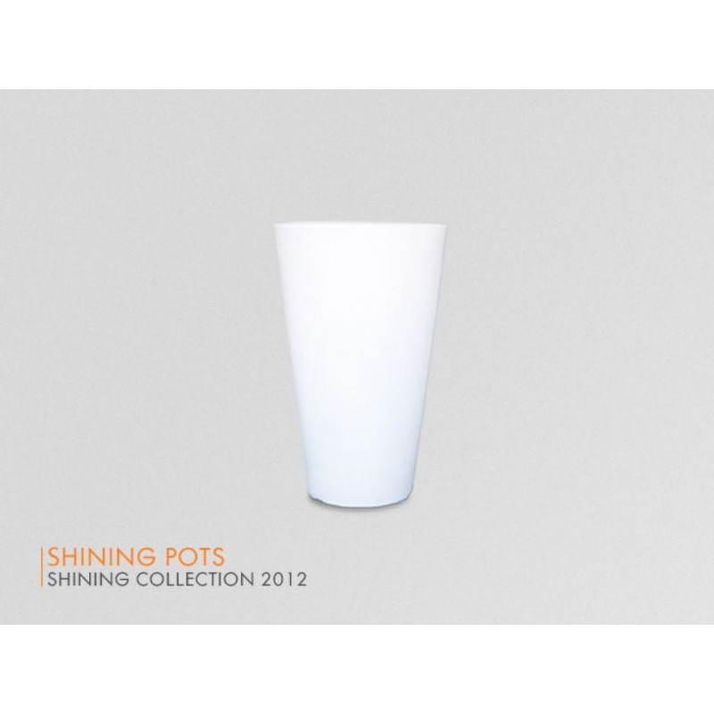 Pot ou vase lumineux intérieur extérieur BALSANE (blanc, H 63 cm)