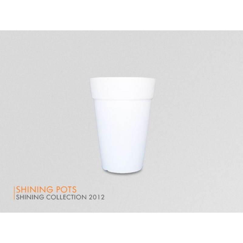 Pot ou vase lumineux intérieur extérieur BALSANE (blanc, H 68 cm)