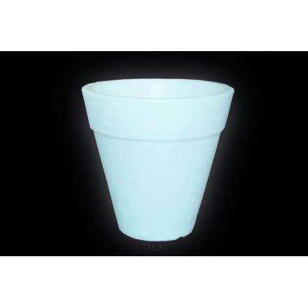 Pot ou vase lumineux intérieur extérieur BALSANE (blanc, H 48 cm)