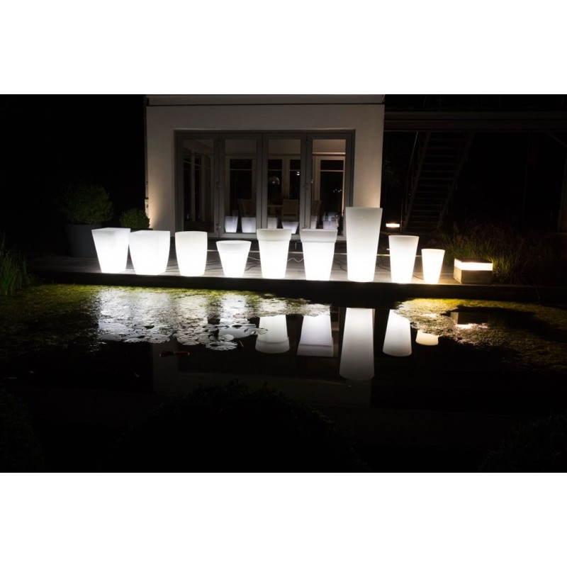 Pot ou vase lumineux rectangulaire intérieur extérieur KIWI (blanc, H 68 cm) - image 24057