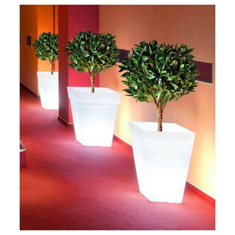 Pot ou vase lumineux rectangulaire intérieur extérieur KIWI (blanc, H 68 cm) - image 24059