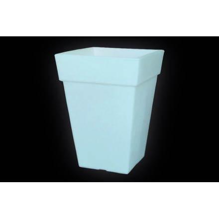 Pot ou vase lumineux rectangulaire intérieur extérieur KIWI (blanc, H 68 cm)