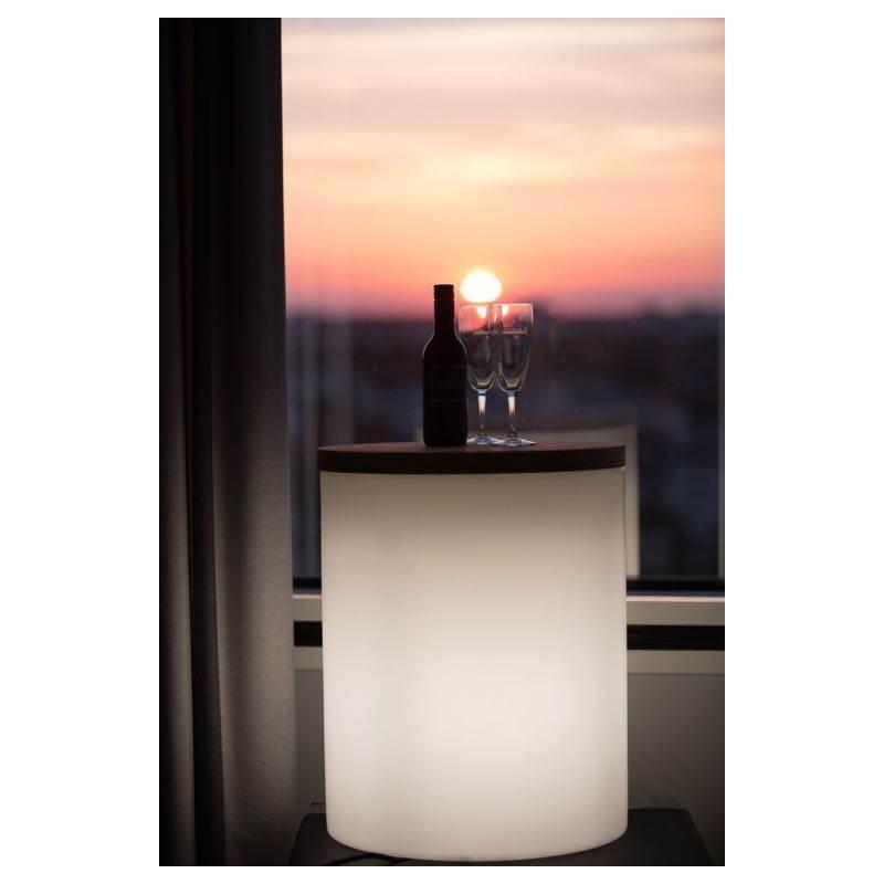 Table basse lumineuse cylindrique EVA intérieur extérieur (blanc) - image 24435