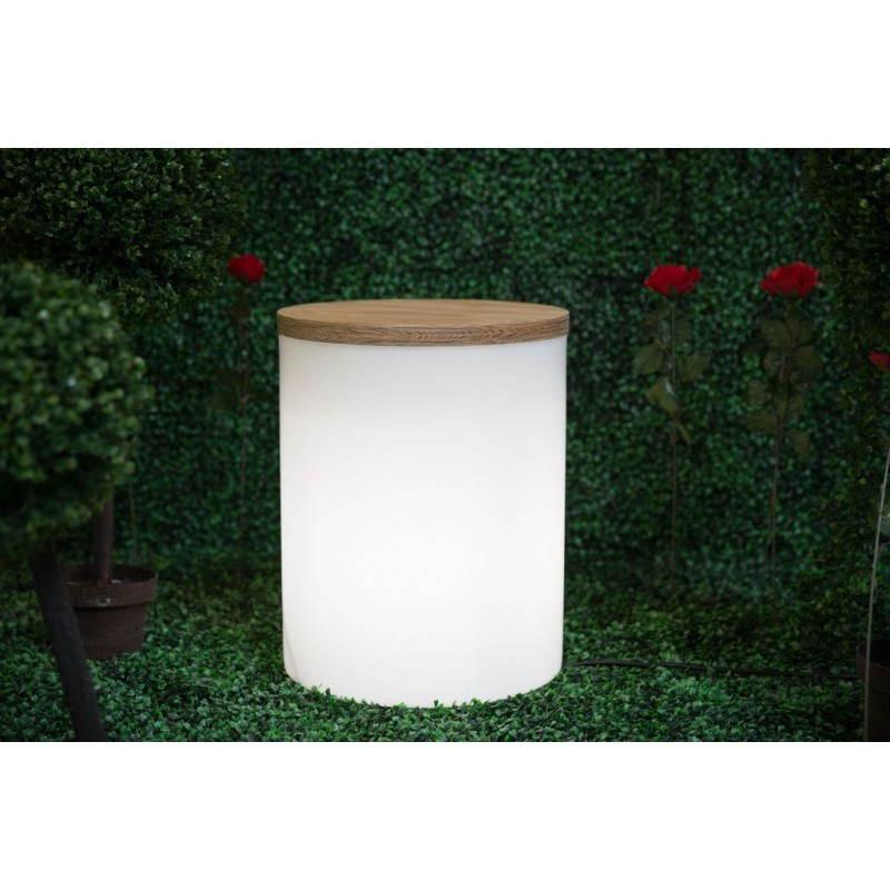 Side table light cylindrical eva inside outside white for Table exterieur hyper u
