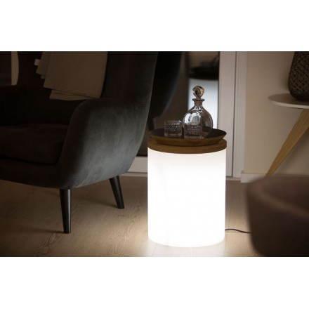 Table basse lumineuse cylindrique EVA intérieur extérieur (blanc)