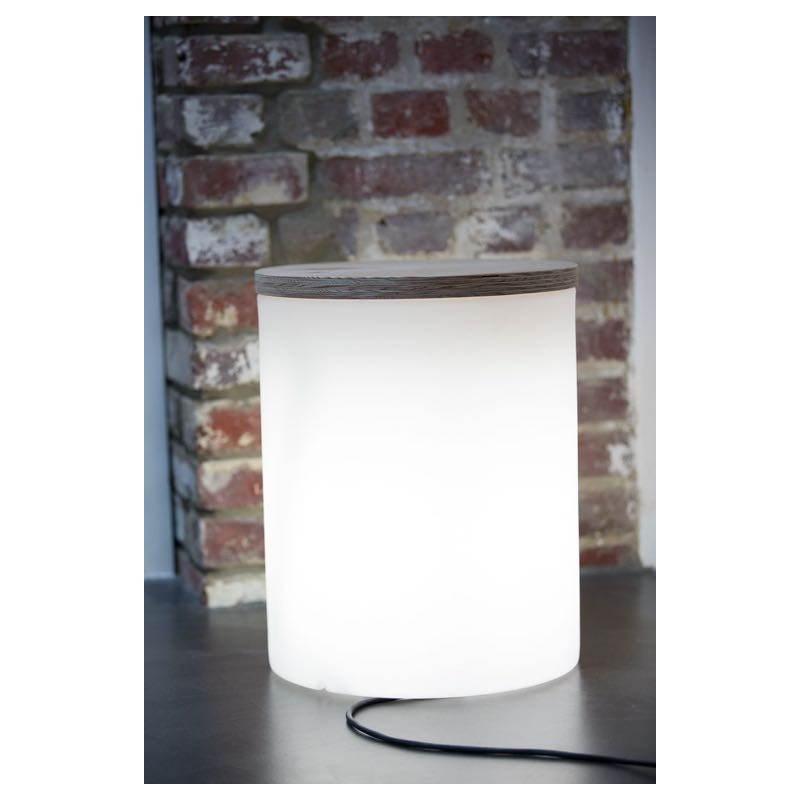 Table basse lumineuse cylindrique EVA intérieur extérieur (blanc) - image 24438