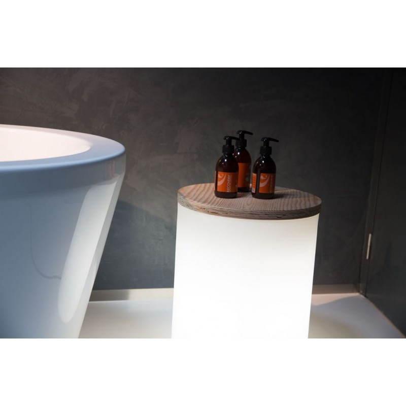 Table basse lumineuse cylindrique EVA intérieur extérieur (blanc) - image 24439