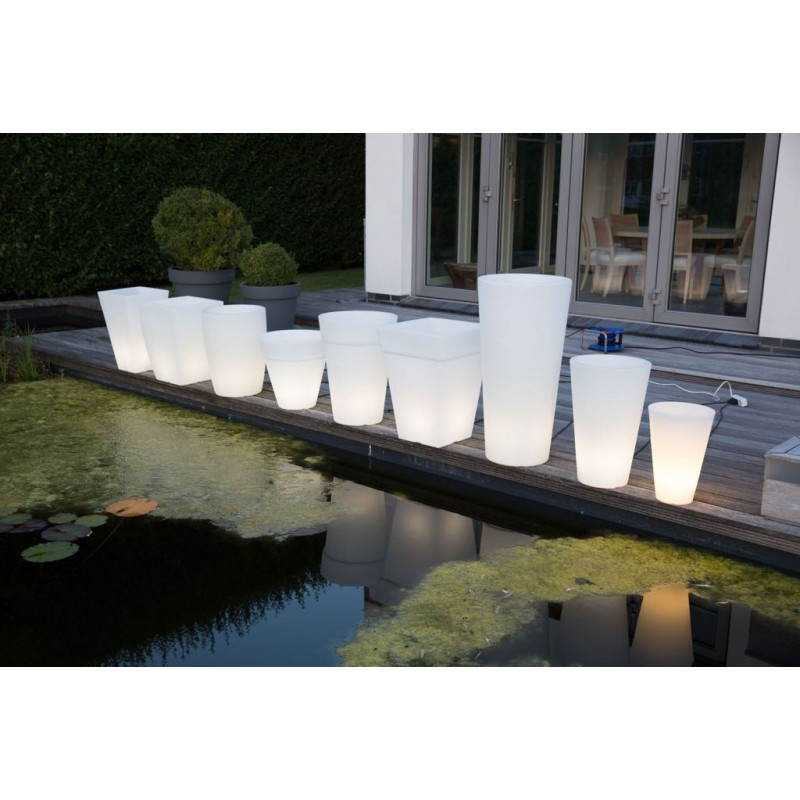 Pot ou vase lumineux rectangulaire KIWI intérieur extérieur (blanc, H 60 cm) - image 24521