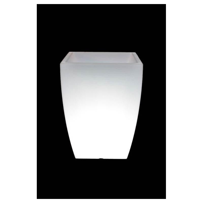 Pot ou vase lumineux rectangulaire KIWI intérieur extérieur (blanc, H 60 cm)